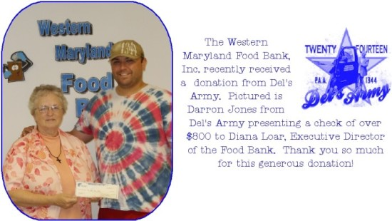 Del's Army Donates to Western Maryland Food Bank, Inc.
